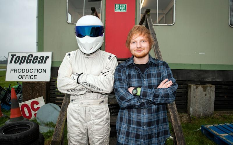 Ed Sheeran Top Gear Stig  - Credit: BBC/PA