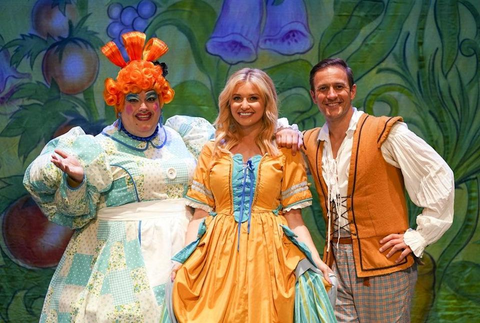 (L to R) Jack Edwards as Dame Trott, Amy Hart as Princess Jill, and Sean Smith as Jack in Jack And The Beanstalk at the Kings Theatre in Southsea (Steve Parsons/PA) (PA Wire)