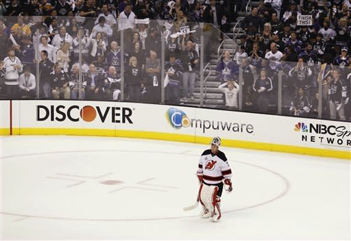 New Jersey Devils goalie Martin Brodeur skates around during a time out in the first period against the Los Angeles Kings during Game 6 of the NHL hockey Stanley Cup finals, Monday, June 11, 2012, in Los Angeles. (AP Photo/Jae C. Hong)