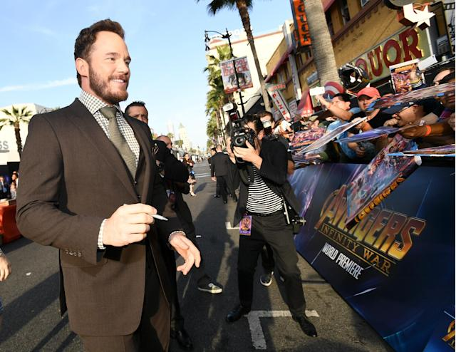 Chris Pratt signs autographs at the world premiere of Disney and Marvel's <em>Avengers: Infinity War</em>on April 23, 2018, in Los Angeles. (Getty Images)