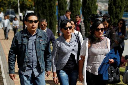 Relatives of the victims arrive for a meeting after two Ecuadorean journalists and their driver who were kidnapped last month by Colombian insurgents have been killed in Quito Ecuador