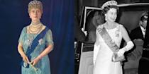 """<p>This <a href=""""http://www.dailymail.co.uk/femail/article-3269372/Battle-bling-Kate-s-Lotus-Flower-steals-state-banquet-royal-family-owns-beautiful-tiara.html"""" rel=""""nofollow noopener"""" target=""""_blank"""" data-ylk=""""slk:tiara"""" class=""""link rapid-noclick-resp"""">tiara</a> belonged to Russian Grand Duchess Vladimir and was purchased by Queen Mary. She passed it on to her granddaughter Queen Elizabeth II. At this point your mind should be pretty much blown by just how many tiaras she owns.</p>"""