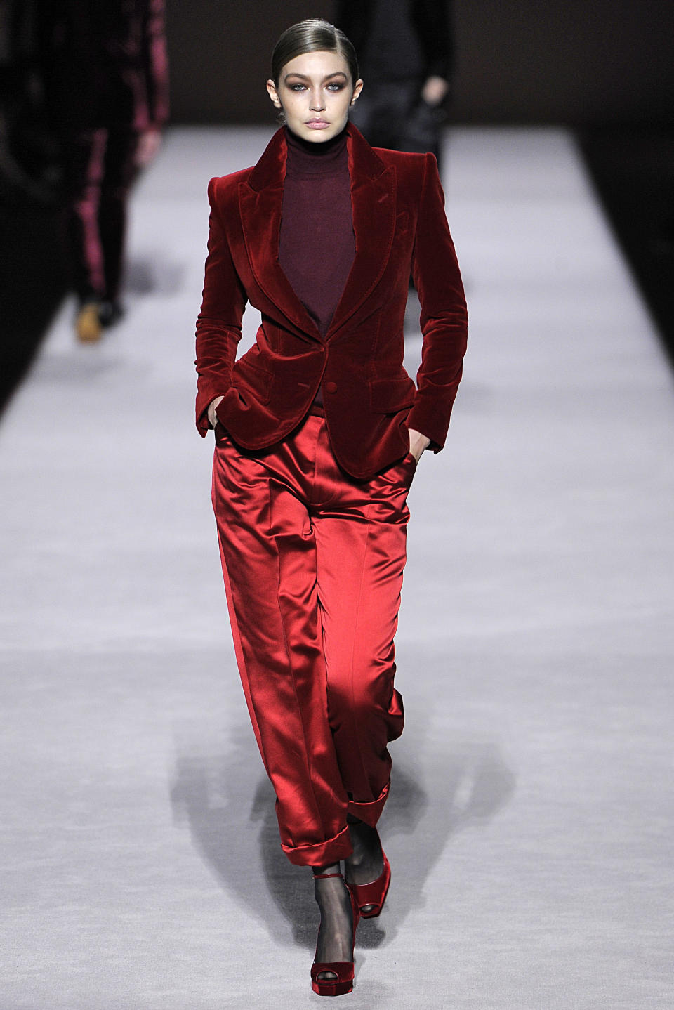 <p>Gigi Hadid graced the headlines after walking the Tom Ford show in one of the designer's most famous looks plucked from the nineties Gucci archives. <em>[Photo: Getty]</em> </p>
