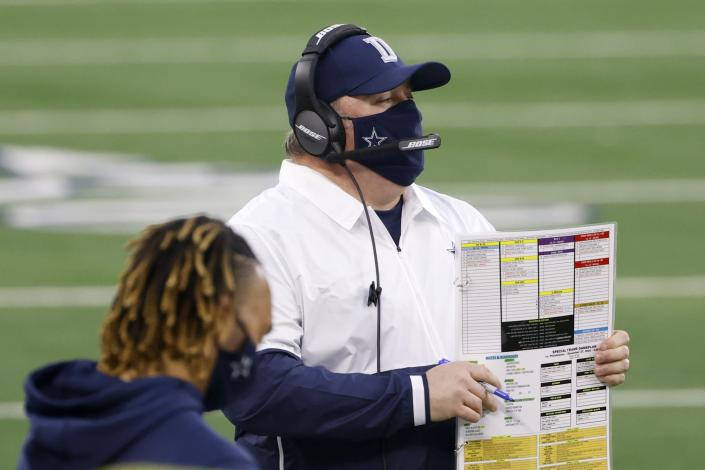 Dallas Cowboys head coach Mike McCarthy watches play against the Philadelphia Eagles in the first half of an NFL football game in Arlington, Texas, Sunday, Dec. 27. 2020. (AP Photo/Ron Jenkins)