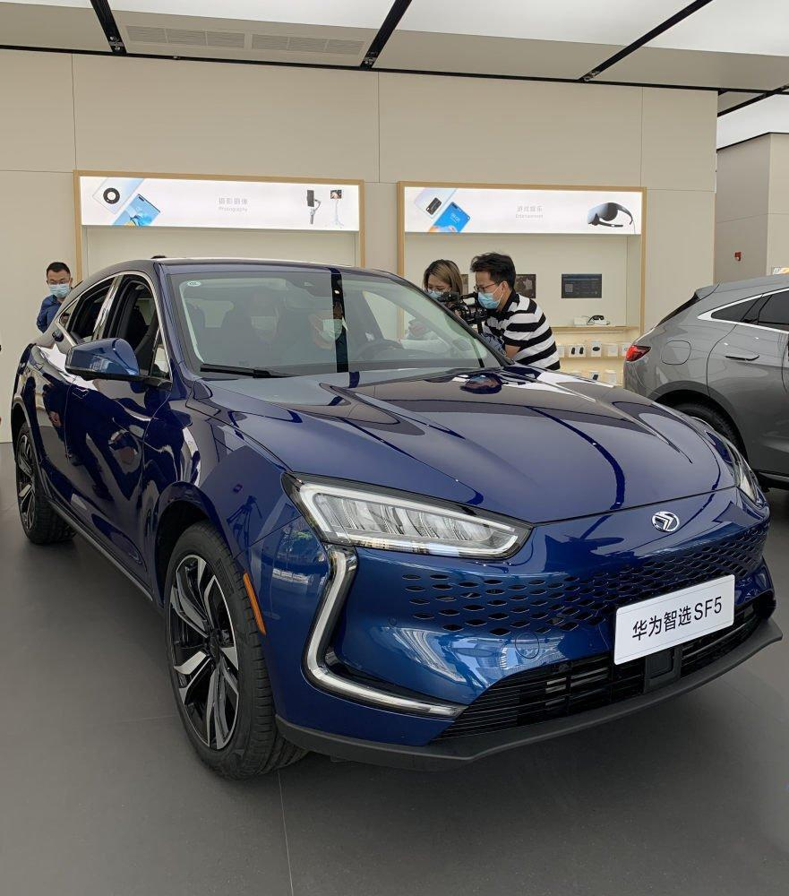 A smart car with Huawei's HiCar system at the telecom company's store in Shenzhen, April 2021. Photo: SCMP/Celia Chen
