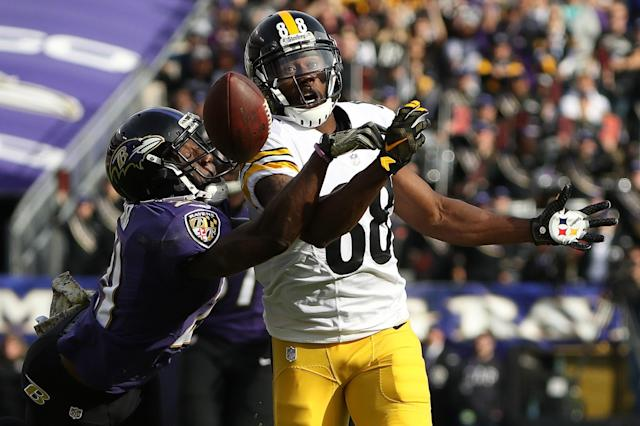 <p>Free safety Lardarius Webb #21 of the Baltimore Ravens breaks up a pass intended for wide receiver Darrius Heyward-Bey #88 of the Pittsburgh Steelers in the second quarter at M&T Bank Stadium on November 6, 2016 in Baltimore, Maryland. (Photo by Patrick Smith/Getty Images) </p>