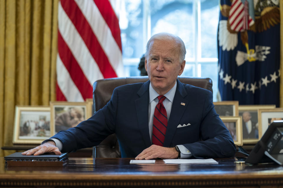 President Joe Biden delivers remarks on health care, in the Oval Office of the White House, Thursday, Jan. 28, 2021, in Washington. (AP Photo/Evan Vucci)