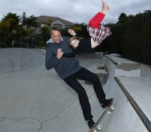 Tony Hawk skates with daughter Kadence in his backyard skate park — Instagram