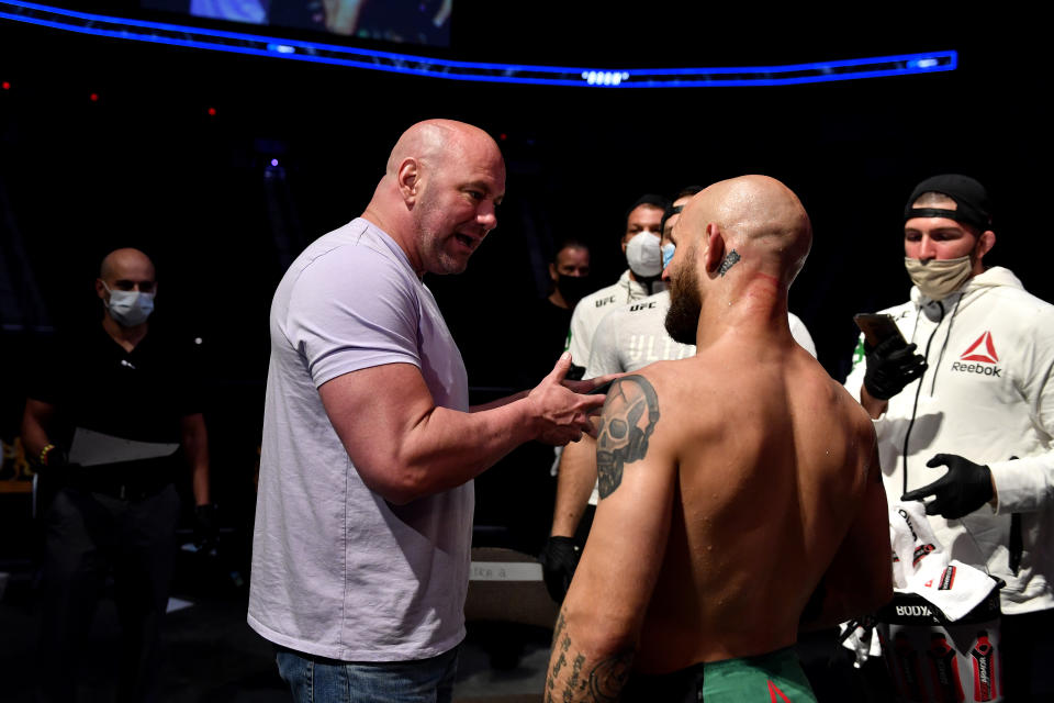 JACKSONVILLE, FLORIDA - MAY 13: UFC president Dana White (L) talks with Brian Kelleher (R) of the United States after winning his Men's Bantamweight bout during UFC Fight Night at VyStar Veterans Memorial Arena on May 13, 2020 in Jacksonville, Florida. (Photo by Douglas P. DeFelice/Getty Images)