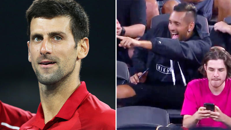 Nick Kyrgios, pictured here during Novak Djokovic's match at the ATP Cup.