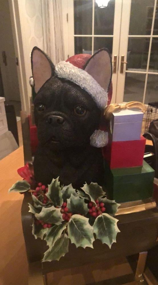A statue of Pepper, Reese Witherspoon's French bulldog