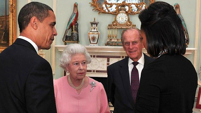 US President Barack Obama and his wife, Michelle Obama, will speak with Queen Elizabeth II and Prince Philip at the Buckingham Palace reception on April 1, 2009 in London, England.