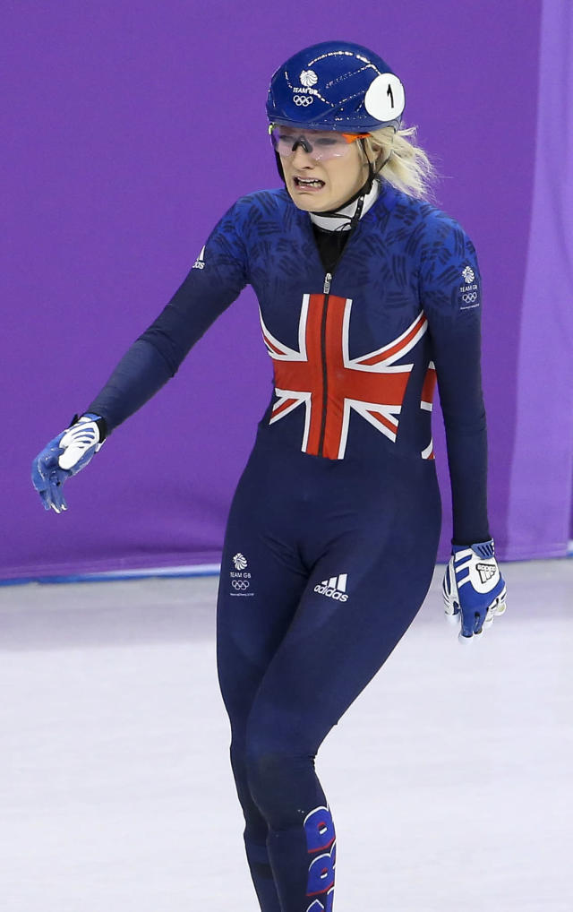 <p>Elise Christie of Great Britain cries after crashing during the Ladies' 500m Short Track Speed Skating final on day four of the PyeongChang 2018 Winter Olympic Games at Gangneung Ice Arena on February 13, 2018 in Gangneung, South Korea. (Photo by Jean Catuffe/Getty Images) </p>