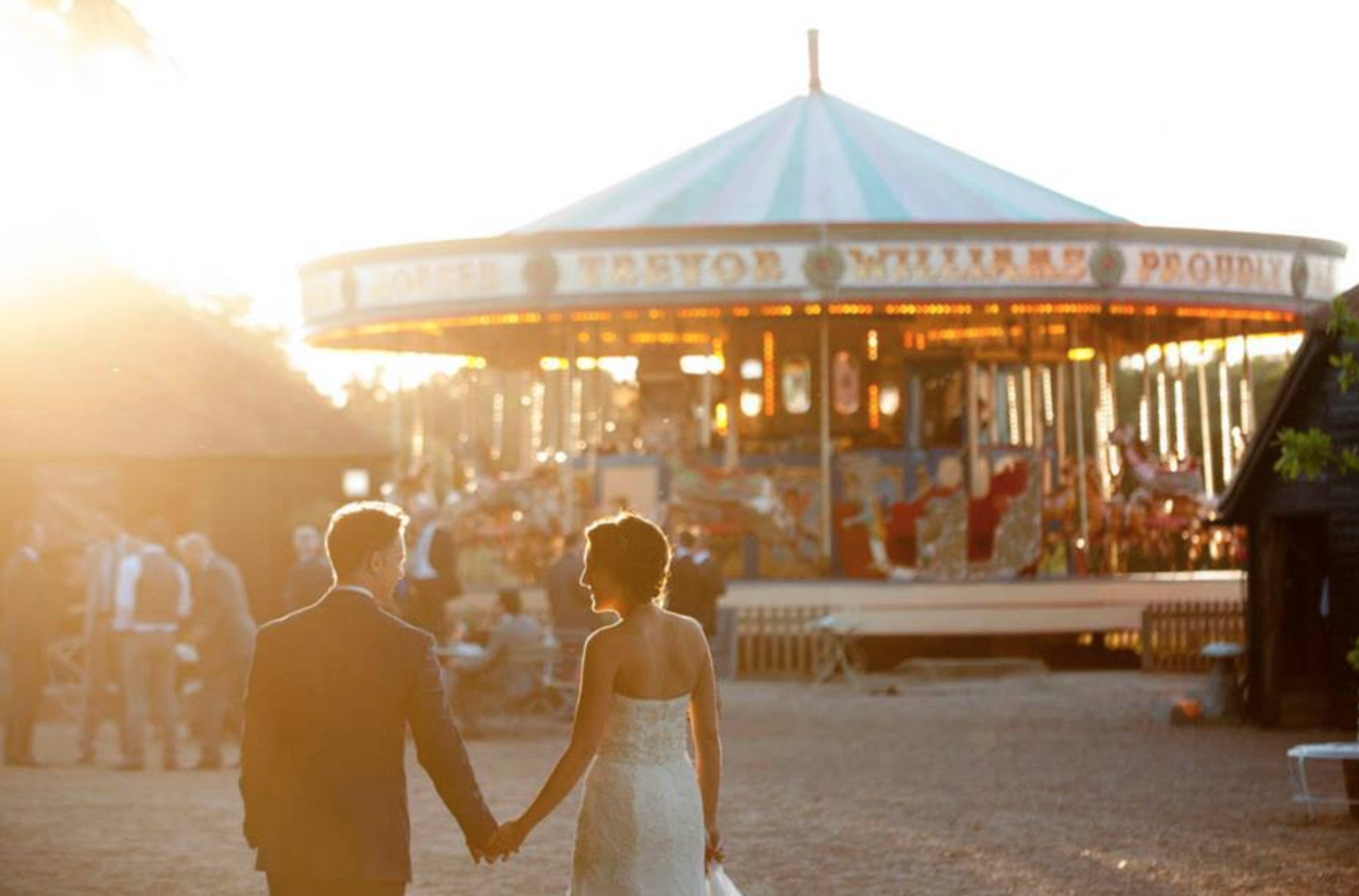 <p>Where else in the UK can you spend your wedding evening on a real life carousel? Preston Court has been voted one of the top 10 barn wedding venues, and we're not surprised to see why. The carousel dates back to the 1880's and is fully functioning, meaning you can spend your entire reception spinning around, if you really want. Preston Court also has a mini island, huge grounds and an almost fairytale-esque church.<br /><em>[Photo: Preston Court]</em> </p>