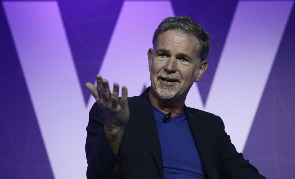 Founder and CEO of Netflix Reed Hastings gestures during a keynote at the Mobile World Congress in Barcelona, Spain, Monday, Feb. 27, 2017. The Mobile World Congress will be held 27 Feb. to 2 March. (AP Photo/Manu Fernandez)