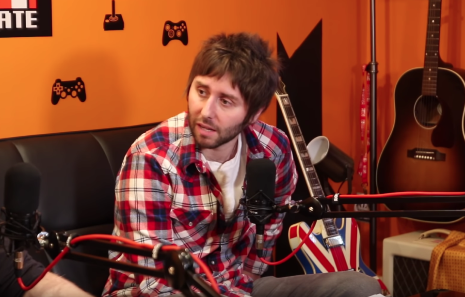 James Buckley recording his podcast 'Completed It Mate'