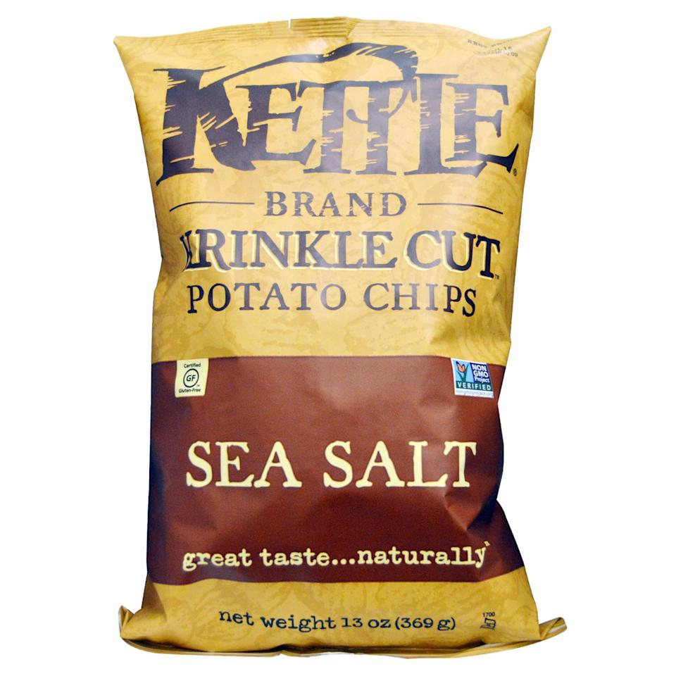 <p>Skip the cheesies loaded with chemicals and animal by-products and try crispy Kettle Brand sea salt chips made with only three ingredients. Their sea salt and vinegar flavor is also vegan, unlike many other brands that contain milk ingredients such as whey and lactose. </p>