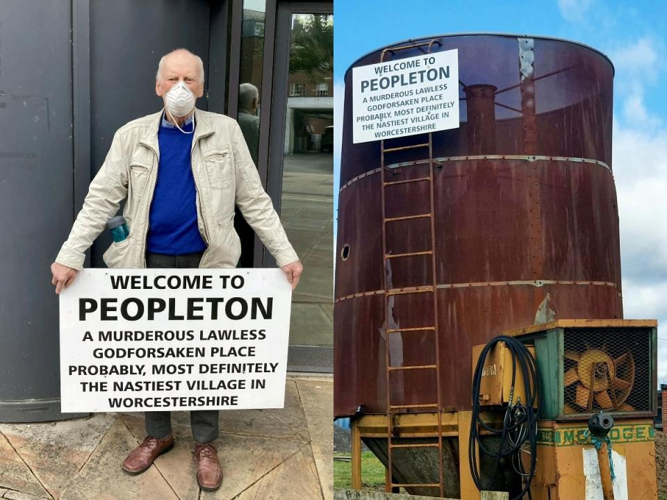 Carl Powell, 75, was taken to court for his sign insulting Peopleton in Worcestershire. (SWNS)