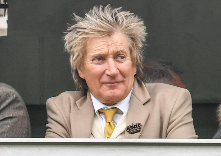 CHELTENHAM- MARCH 14:  Rod Stewart at ST Patrick's Thursday at Cheltenham Racecourse for The Festival 2019,  on March 14, 2019 in Cheltenham, Gloucestershire, England. (Photo by MelMedia/GC Images)