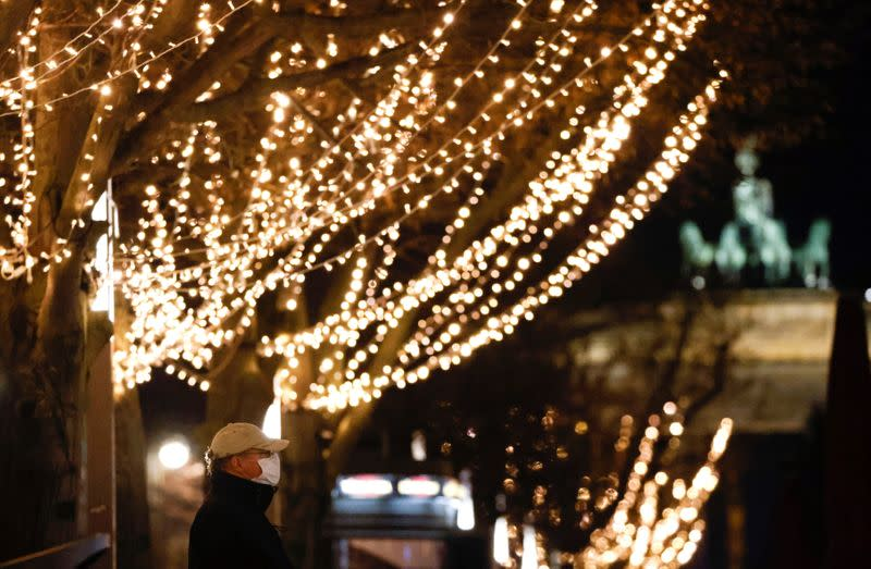 Christmas illuminations are pictured at Unter den Linden boulevard amid the coronavirus disease (COVID-19) outbreak in Berlin