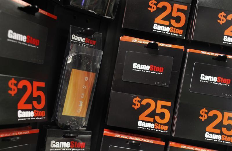 GameStop money cards are seen inside the video-game retail store in New York