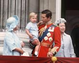 <p>The Queen Mother, the Prince of Wales, a young Prince William and Princess Margaret at Buckingham Palace, London for Trooping the Colour in June 1984. (Anwar Hussein)</p>