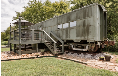 The Smiths converted this pre-WWII train car called Platform 1346 into a luxury rental. Photo credit: Airbnb.
