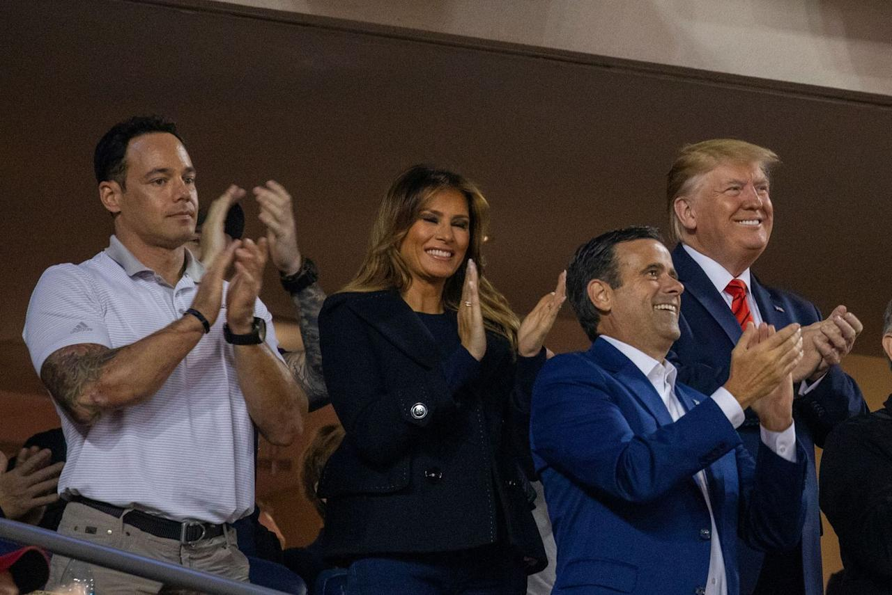 <p>The First Lady wore a casual blazer and jeans to game five of the World Series. </p>