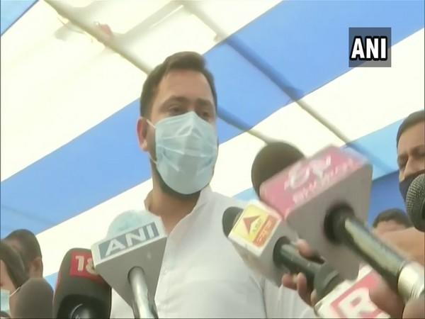 Tejashwi Yadav, the chief ministerial candidate of Mahagathbandhan is contesting from Raghopur constituency. (Photo/ANI)