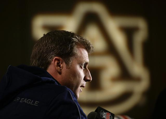 Auburn offensive coordinator Rhett Lashlee speaks during a news conference on Thursday, Jan. 2, 2014, in Newport Beach, Calif. Auburn is scheduled to play Florida State on Monday, Jan. 6, in the BCS national championship NCAA college football game. (AP Photo/Jae C. Hong)