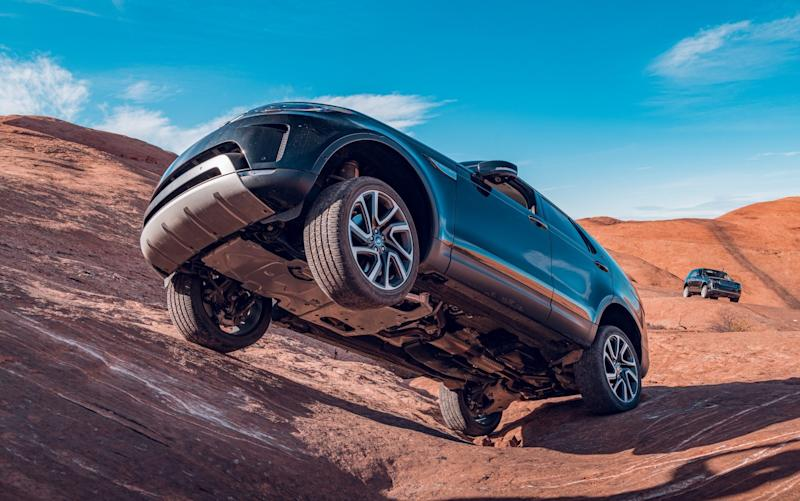 Don't try this at home... the rocks at Moab are unforgiving. Note the standard tyres