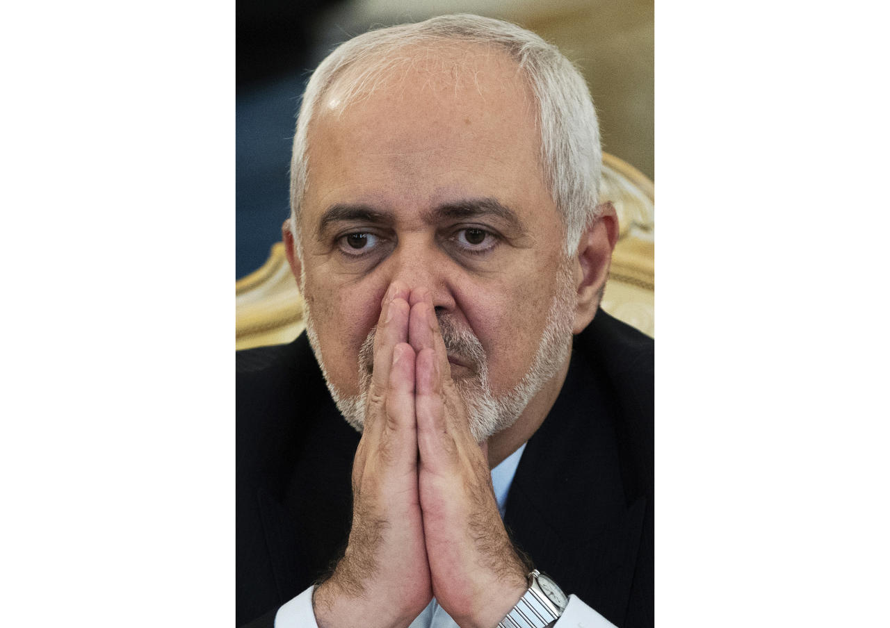 FILE - In this May 8, 2019, file photo, Iranian Foreign Minister Mohammad Javad Zarif attends a meeting with Russian Foreign Minister Sergey Lavrov in Moscow, Russia. Zarif for the first time suggested his country's ballistic missile program could be on the table for negotiations with the U.S. - if America stops selling arms to its Gulf allies in the Mideast, in an NBC News interview that aired Monday night, July 15, 2019. (AP Photo/Pavel Golovkin, File)