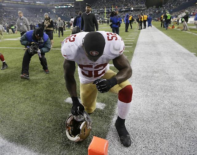 San Francisco 49ers' Patrick Willis pauses after the NFL football NFC Championship game against the Seattle Seahawks Sunday, Jan. 19, 2014, in Seattle. The Seahawks won 23-17 to advance to Super Bowl XLVIII. (AP Photo/Marcio Jose Sanchez)