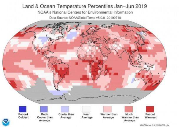 PHOTO: This NOAA graphic shows land and ocean temperature percentiles from Jan-June 2019. (NOAA)
