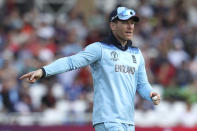 England's captain Eoin Morgan gestures during the Cricket World Cup match between England and Pakistan at Trent Bridge in Nottingham, Monday, June 3, 2019. (AP Photo/Rui Vieira)
