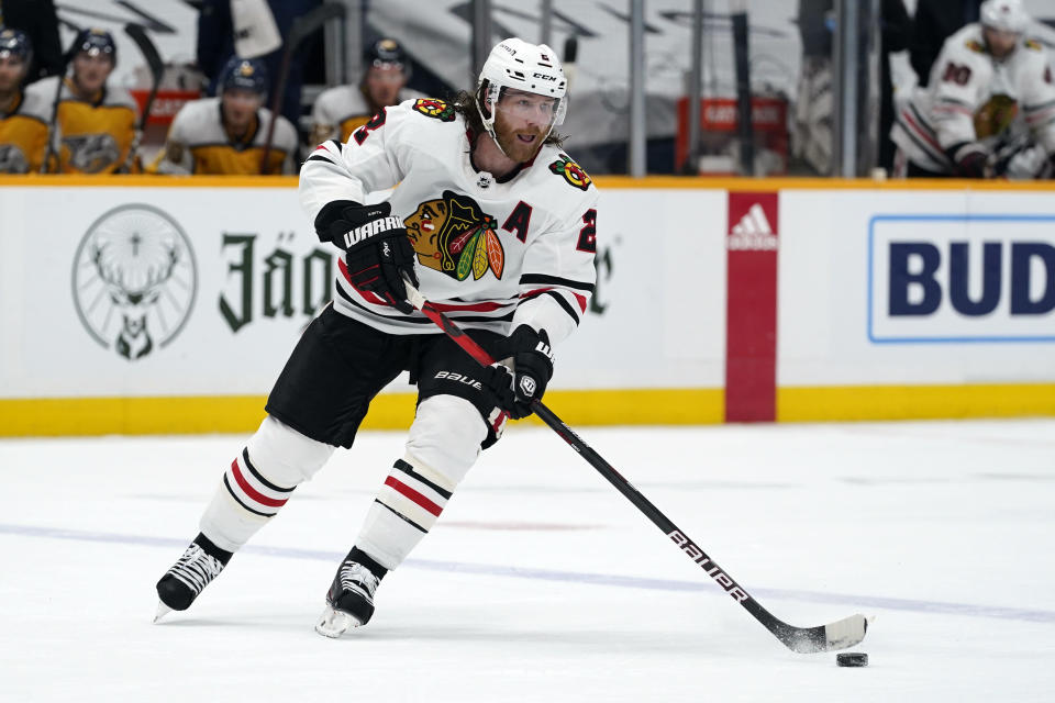 FILE - In this April 19, 2021, file photo, Chicago Blackhawks defenseman Duncan Keith (2) plays against the Nashville Predators in the first period of an NHL hockey game in Nashville, Tenn. The Blackhawks have traded two-time Norris Trophy winner Keith to the Edmonton Oilers for young defenseman Caleb Jones and a conditional 2022 third-round draft pick. (AP Photo/Mark Humphrey, File)