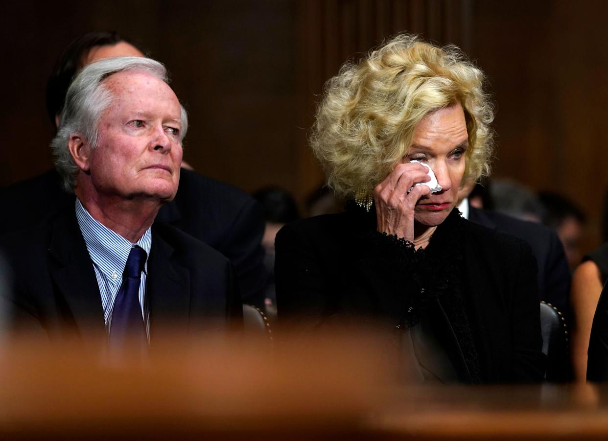 Edward Kavanaugh and Martha Kavanaugh, Brett Kavanaugh's parents, listen to testimony.