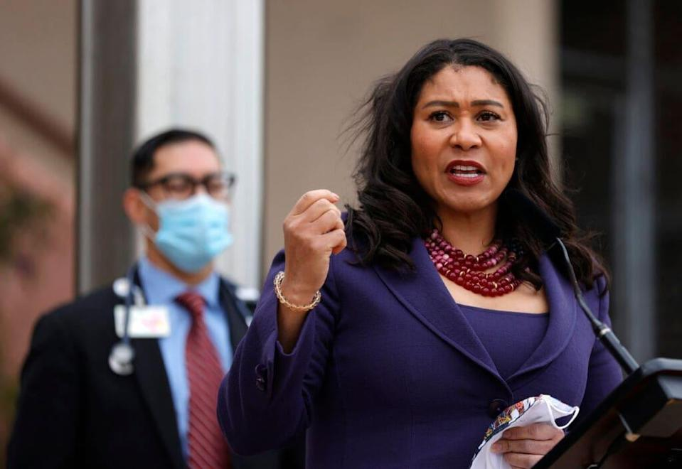 San Francisco Mayor London Breed speaks during a news conference outside of Zuckerberg San Francisco General Hospital with essential workers to mark the one year anniversary of the COVID-19 lockdown on March 17, 2021 in San Francisco, California. San Francisco has some of the lowest number of coronavirus cases and death rates in the country with only 422 deaths in a city with a population near 900,000. (Photo by Justin Sullivan/Getty Images)
