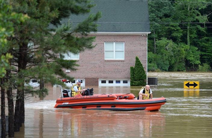 After a weekend of heavy rains, residents along Riverside Drive on Mountain Island Lake had to evacuate due to flooding. Members of the Cook's Community VFD return to Riverside Drive to unload June 10. Also, a dock with boats attached broke loose and became jammed against the supports for the Hwy 16 bridge that crosses the lake into Gaston County. Boats were being towed to the Riverbend Access ramp. Mountain Island Lake residents in particular should stay alert to possible flooding, as levels of the Catawba River and its lakes are already high due to this week's rains, according to an NWS alert on May 22, 2020.