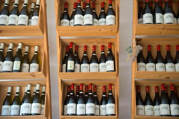 Tempting: bottles of wine are on display in the village of Chateauneuf-du-Pape, south-eastern France. (Getty Images)