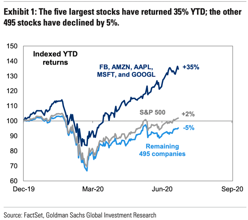 FAAMG are why the S&P 500 is up this year. (Goldman Sachs)
