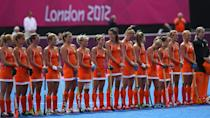 LONDON, ENGLAND - JULY 29: The Netherlands players line up prior to the Women's Pool WA Match W02 between the Netherlands and Belgium at the Hockey Centre on July 29, 2012 in London, England. (Photo by Daniel Berehulak/Getty Images)