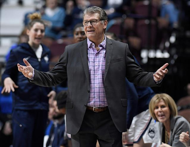 UConn coach Geno Auriemma should be keeping a close watch on his Huskies. (AP Photo/Jessica Hill)