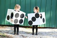 """<p>A pair of toddlers (whether <a href=""""https://www.countryliving.com/diy-crafts/g21530121/diy-sister-halloween-costumes/"""" rel=""""nofollow noopener"""" target=""""_blank"""" data-ylk=""""slk:sisters"""" class=""""link rapid-noclick-resp"""">sisters</a> or playdate pals) makes a perfect pair of dice.</p><p><strong>Get the tutorial at <a href=""""https://sugarbeecrafts.com/diy-dice-costume-boxtume"""" rel=""""nofollow noopener"""" target=""""_blank"""" data-ylk=""""slk:Sugar Bee Crafts"""" class=""""link rapid-noclick-resp"""">Sugar Bee Crafts</a>.</strong></p><p><a class=""""link rapid-noclick-resp"""" href=""""https://www.amazon.com/slp/cardboard-boxes/6qpqvkfqa3xq6sx?tag=syn-yahoo-20&ascsubtag=%5Bartid%7C10050.g.4975%5Bsrc%7Cyahoo-us"""" rel=""""nofollow noopener"""" target=""""_blank"""" data-ylk=""""slk:SHOP BOXES"""">SHOP BOXES</a></p>"""