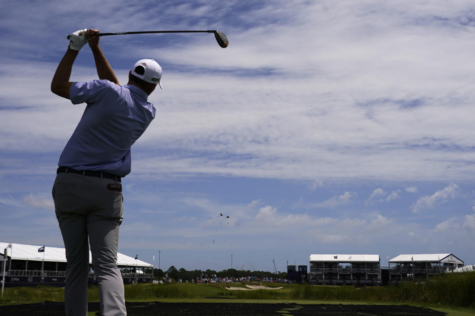 Talor Gooch watches his tee shot on the 17th hole during a practice round at the PGA Championship golf tournament on the Ocean Course Wednesday, May 19, 2021, in Kiawah Island, S.C. (AP Photo/Chris Carlson)