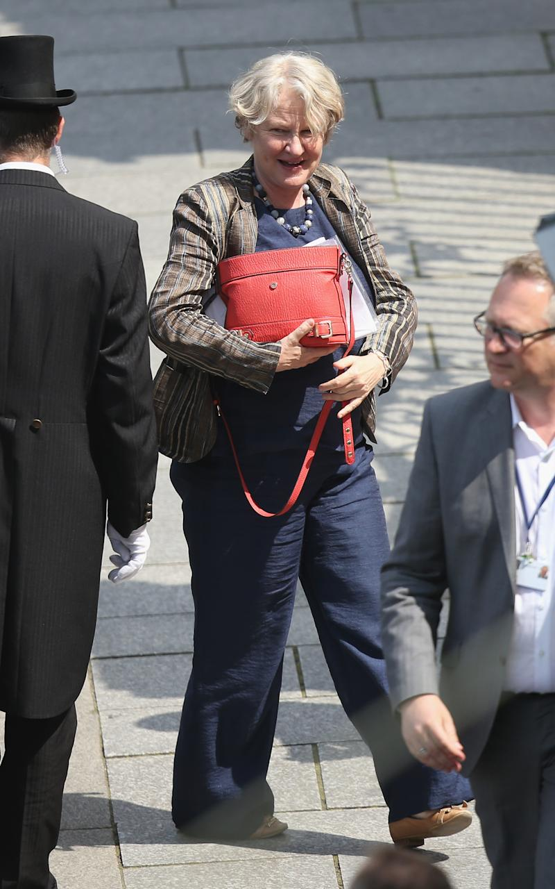 DRESDEN, GERMANY - JUNE 09: British Labour MP Helen Goodman arrives at the Hotel Taschenbergpalais Kempinski Dresden for the 2016 Bilderberg Group conference on June 9, 2016 in Dresden, Germany. The Taschenbergpalais is hosting the 2016 Bilderberg Group gathering that will bring together 130 leading international players from politics, industry, finance, academia and media to discuss globally-relevant issues from today until June 12. A wide spectrum of groups have announced protests to be held nearby. Critics charge the secretive nature of the Bilderberg Group annual meetings is undemocratic. (Photo by Sean Gallup/Getty Images)