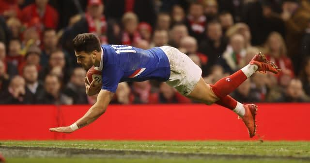 Romain Ntamack scores a try for France against Wales in Cardiff (David Davies/PA Wire)