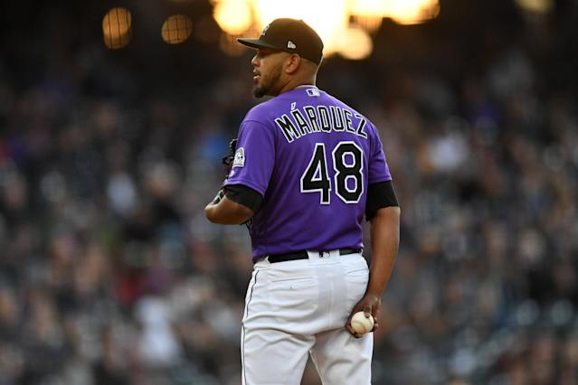 "<a class=""link rapid-noclick-resp"" href=""/mlb/players/10402/"" data-ylk=""slk:German Marquez"">German Marquez</a> has been terrible of late — but how much of it is outside of his control? Mandatory Credit: Ron Chenoy-USA TODAY Sports"