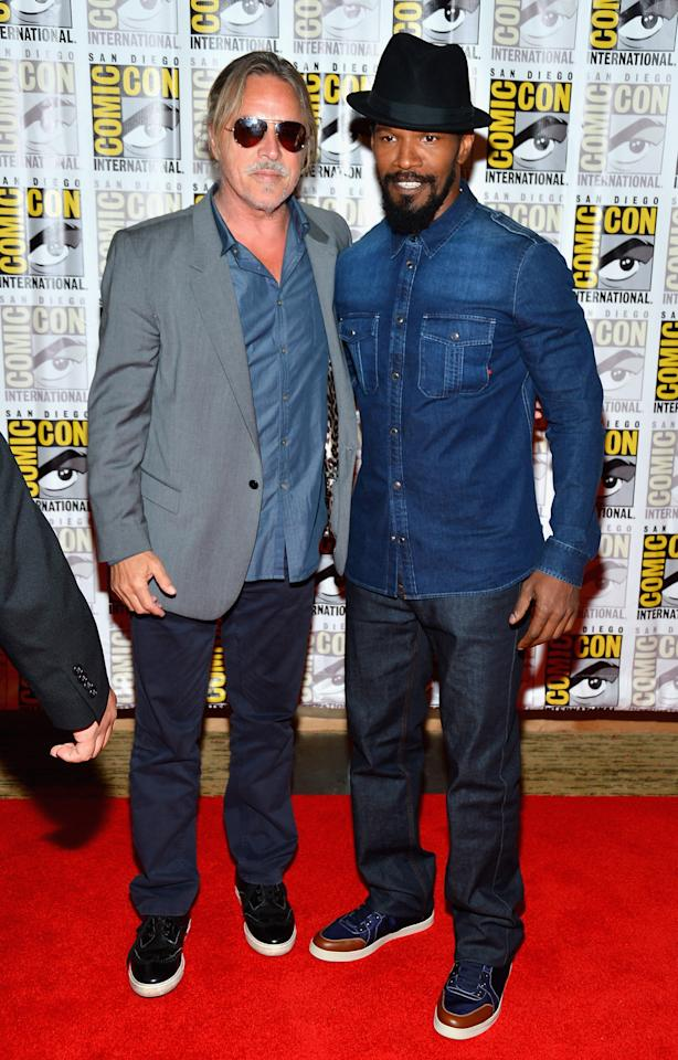 "SAN DIEGO, CA - JULY 14:  Actor Don Johnson and Jamie Foxx attend ""DJango Unchained"" Press Line during Comic-Con International 2012 at Hilton San Diego Bayfront Hotel on July 14, 2012 in San Diego, California.  (Photo by Frazer Harrison/Getty Images)"