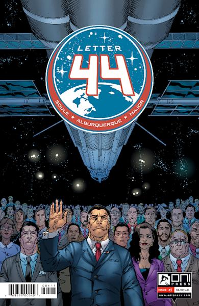 """This image provided by Oni Press shows one a version of the cover of Charles Soule's """"Letter 44,"""" a series where humanity finds the stars hold not just ambition, but a threat kept hidden. Soule says the new series released Wednesday, Oct. 16, 2013 is a measured essay on the human spirit, and the quest for knowledge knowing that there is life up there and it may not be friendly. (AP Photo/Oni Press)"""